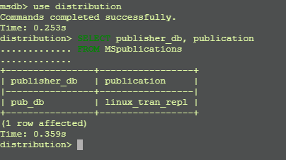 List Publisher database with Publication in Transaction Replication