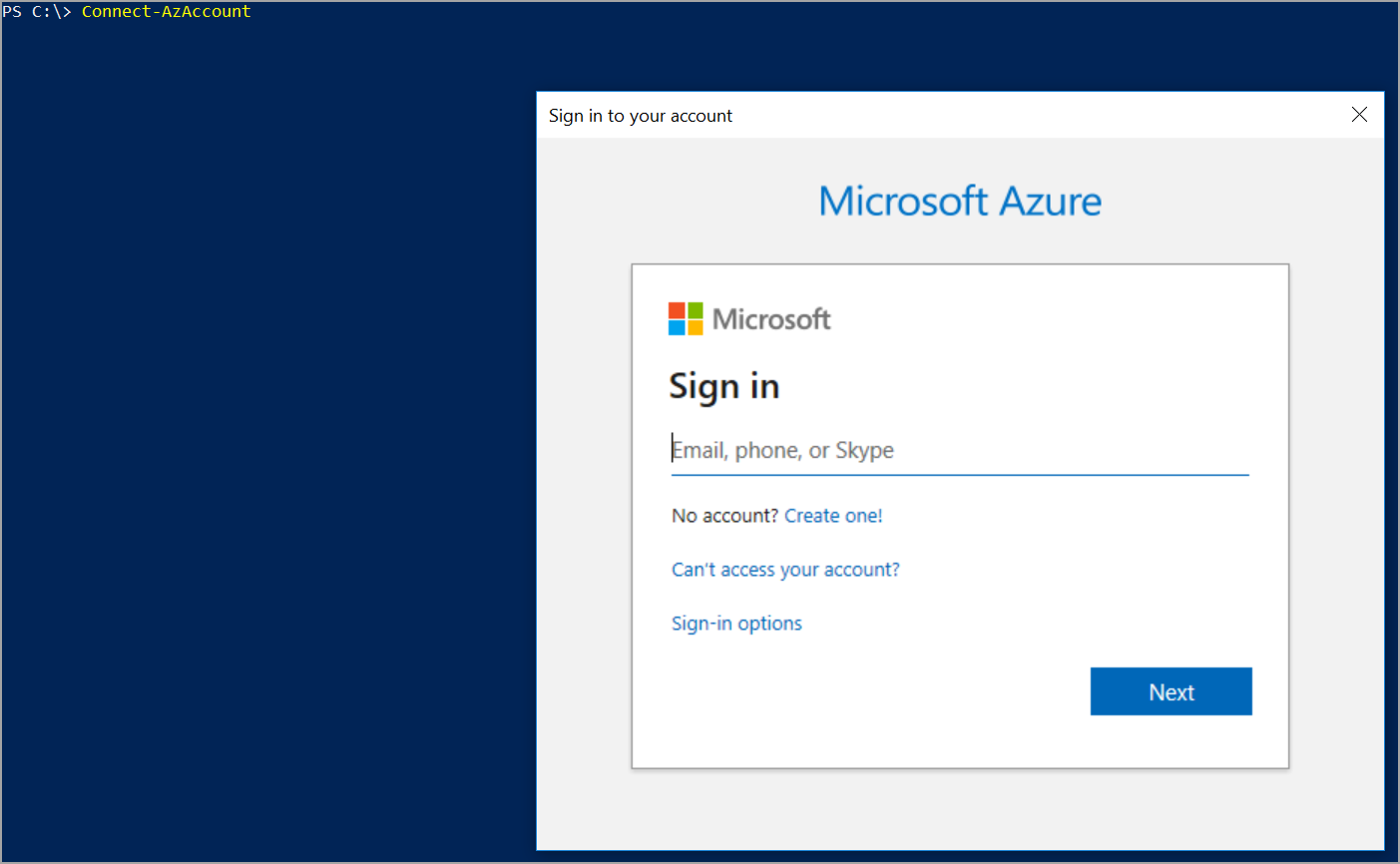 login to Azure using Azure PowerShell