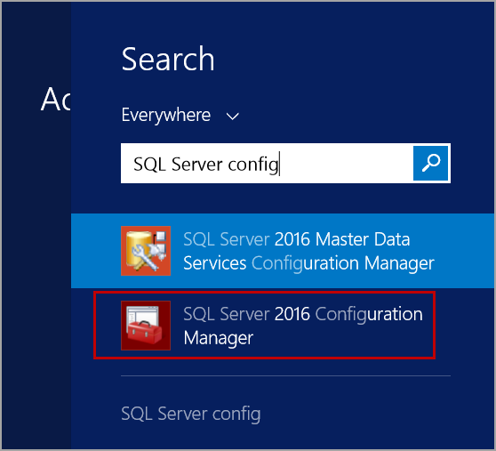 open SQL Server configuration manager from Start