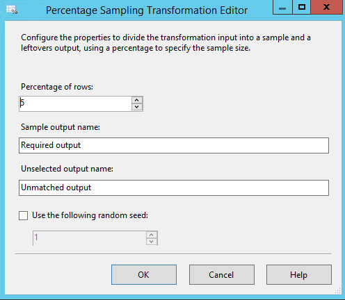 Percentage sampling transformation in SSIS