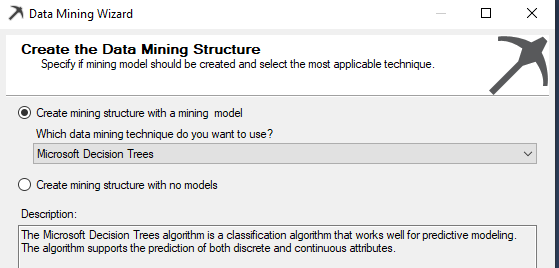 selecting Microsoft Decision Trees as a mining technique.