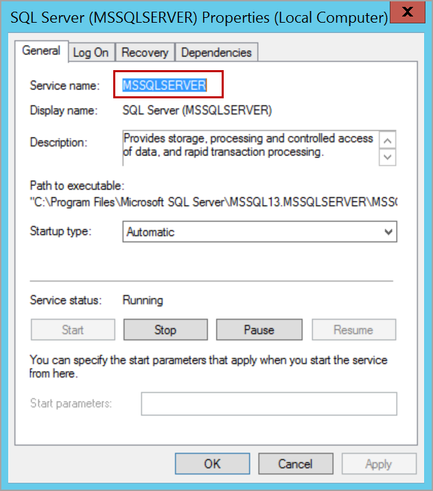 SQL Service name to start SQL Server in single user mode using command prompt