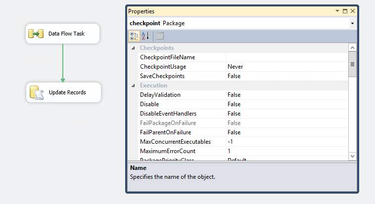 Using CHECKPOINT in SSIS packages to restart package execution