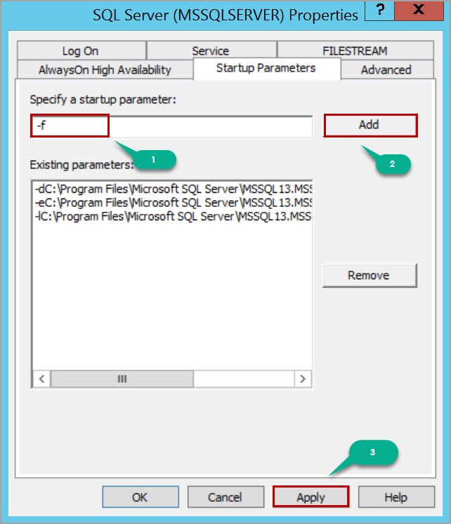 start up parameters to run SQL Server in single user mode