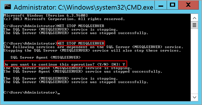 stop SQL Server services using command prompt