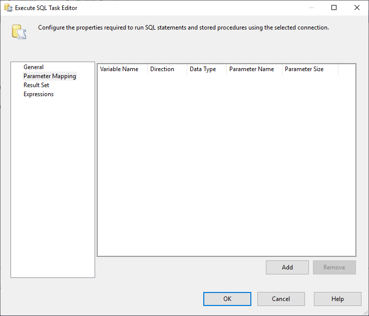 This image shoes the Parameter Mapping Tab within Execute SQL Task in SSIS