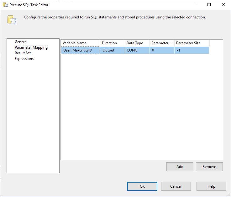 This image shows how an output parameter is configured in Execute SQL Task in SSIS