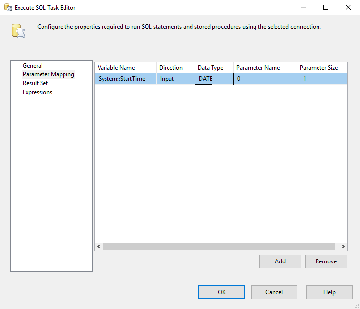 This image shows how Parameter Mapping is added in Execute SQL Task in SSIS