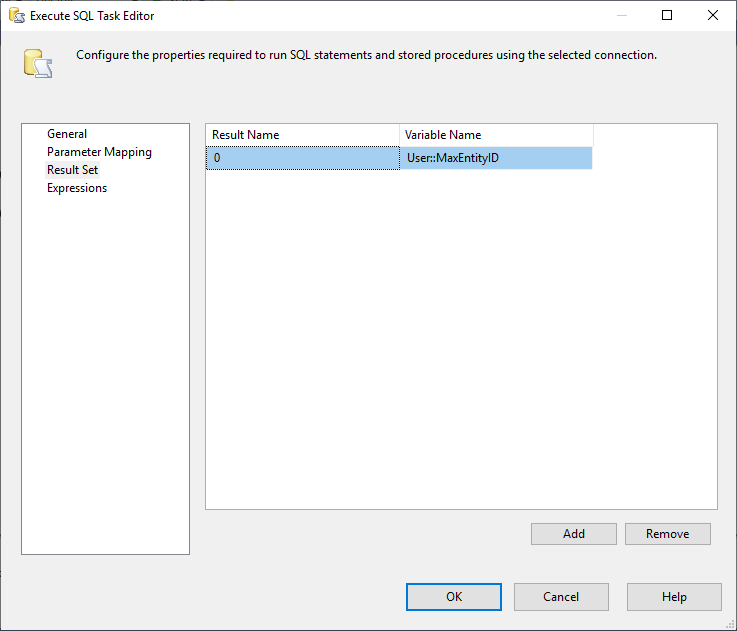 This image shows the Result Set Tab in Execute SQL Task in SSIS
