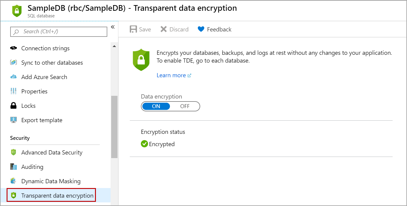 Transparent data encryption on Azure single database