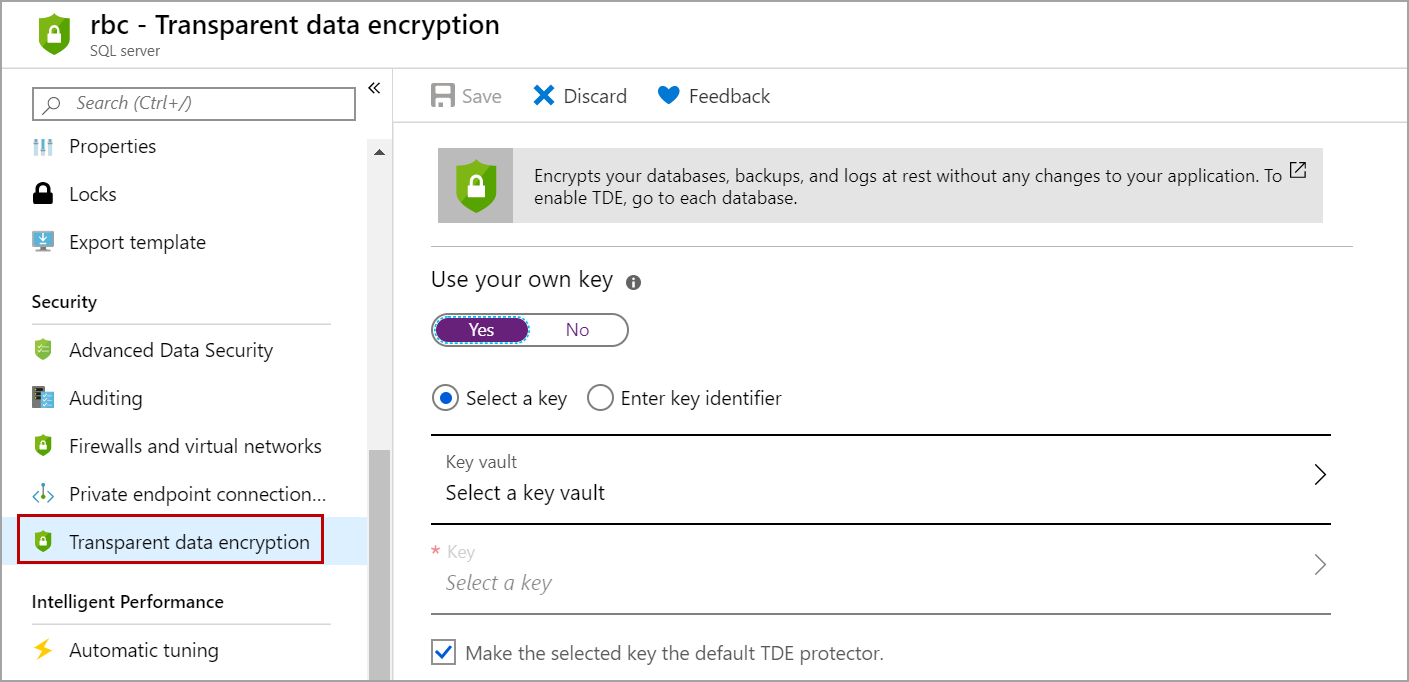 use your own key for encrypting Azure SQL database