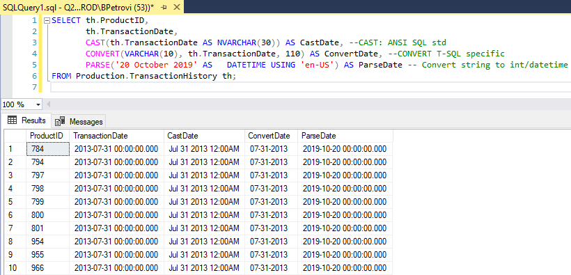 A query that uses Cast, Convert and Parse functions to convert an expression of one SQL data type to another