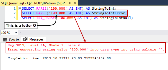 A Select statement that tries to convert a string to an integer and errors out