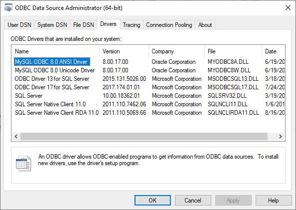 Check is it the ODBC driver for MySQL installed on machine via ODBC Data Source Administrator and Drivers tab