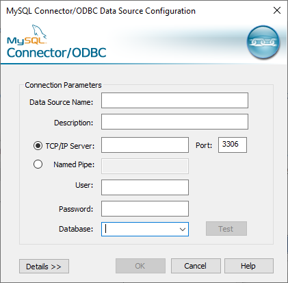 Connector/ODBC configuration dialog to connect to MySQL database