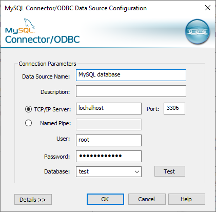 Connector/ODBC connection parameters to connect to MySQL database