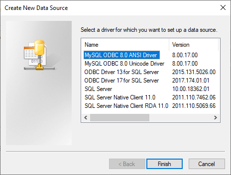 Create New Data Source to connect to MySQL
