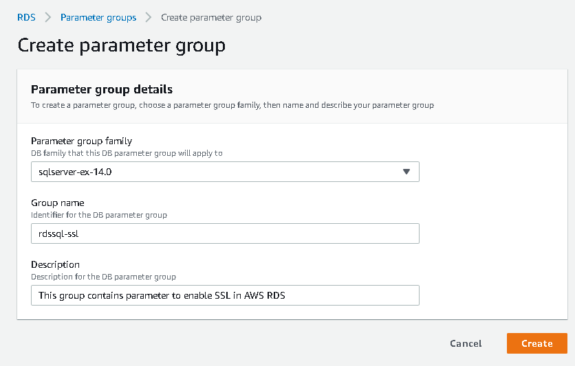 create  new parameter group