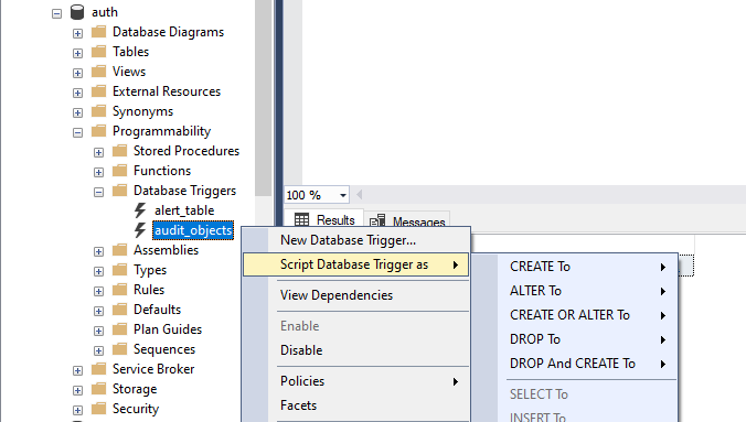 Create, Update and Drop DDL trigger by SSMS