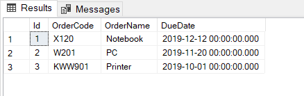 Creating a sample table in SQL Server