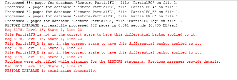 Database recovery error message