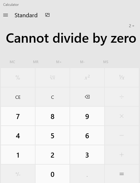 Divide by Zero message in calculator