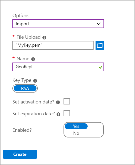 importing key in Azure key vault