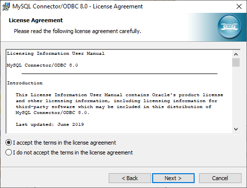 MySQL Connection/ODBC wizard - License Agreement dialog