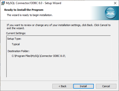 MySQL Connection/ODBC wizard -Ready to Install the Program dialog