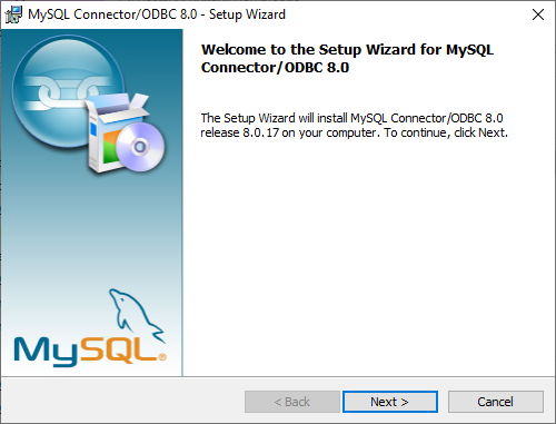 MySQL Connection/ODBC wizard - Welcome dialog