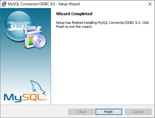 MySQL Connection/ODBC wizard - Wizard Completed dialog