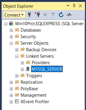 MySQL linked server