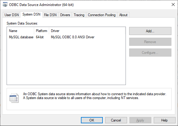 Newly created data source name in the System DSN tab of the ODBC Data Source Administrator dialog