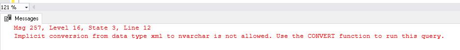 Instruction PRINT avec une valeur de variable de type XML