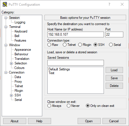 PuTTY - Configuration dialog