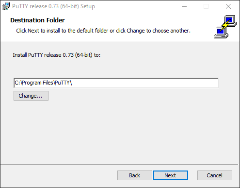 PuTTY - Destination Folder dialog
