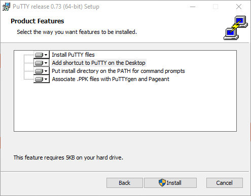 PuTTY - Product Features dialog