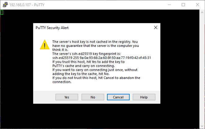 PuTTY - Security Alert  dialog