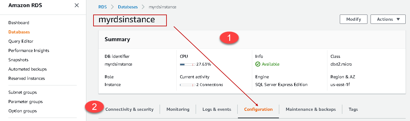 RDS instance summary