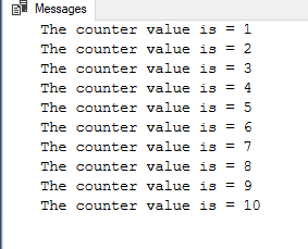 Result of the WHILE loop example in SQL Server
