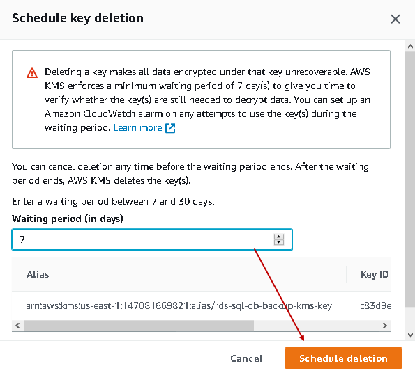 Schedule key deletion waiting time