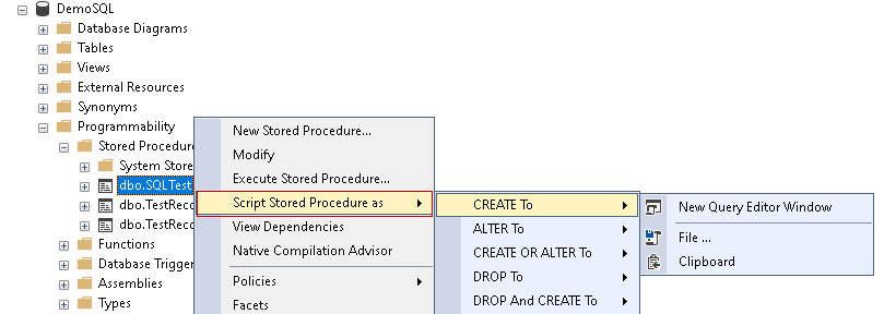Script stored procedure