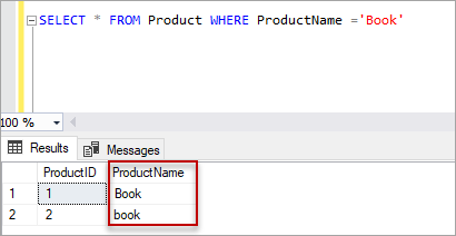 select statement with out collate SQL command