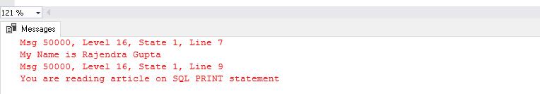 Gravité 16 dans SQL Server RAISERROR
