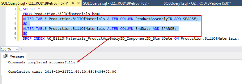 SQL code for altering column properties