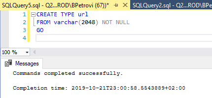 SQL code for creating a new SQL data type based on a built-in one