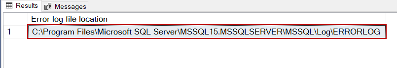 SQL Server errorlog file path