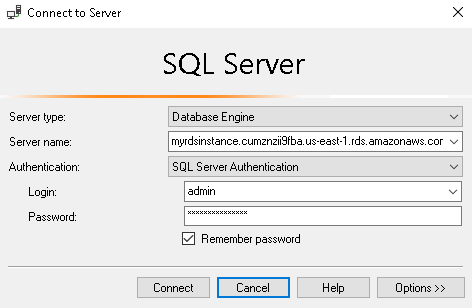 SSMS connection