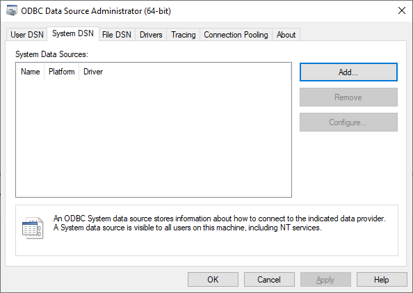 System DSN tab of the ODBC Data Source Administrator dialog