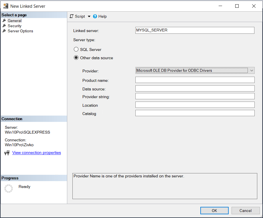 The New Linked Server dialog  - ODBC Drivers